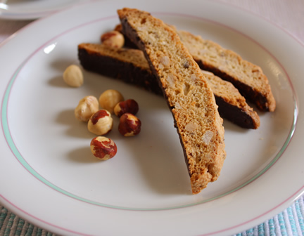 Hazelnut Biscotti Dipped in Chocolate